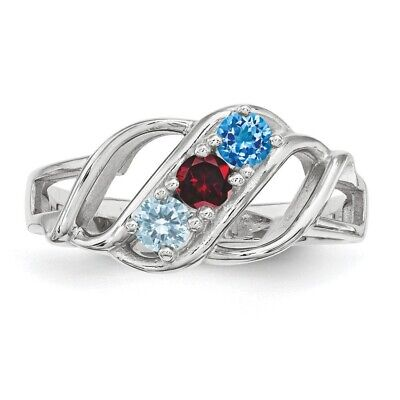 $75 • Buy Mothers Birthstone Rings 1- 3 Stones Sterling Silver, Mothers Day Jewelry Ring