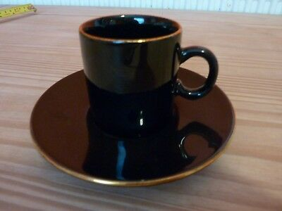 Gold Gilded Nescafe Espresso Cup Saucer Hornsea Pottery Collectable Coffee Black • 10£