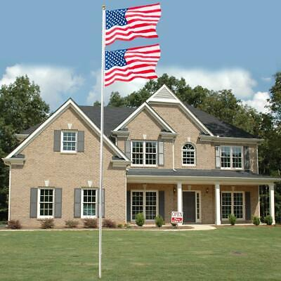 20 FT Flag Pole Aluminum Sectional Halyard Flagpole Kit 2x US Flag Ball American • 38.90$