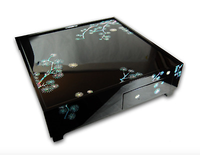 Japanese Style Wooden Tea Table Mother Of Pearl Inlaid Lacquer Finish Pine Tree • 148.98£