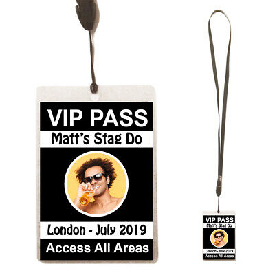 Personalised STAG DO Birthday Party VIP Pass Lanyard + Photo Badge /Card Night • 1£
