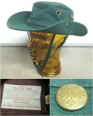 e6239c85321ad Vintage Tilley Endurables Hat Snap Brim Sides Olive Green Cotton Duck T3 7  1 8