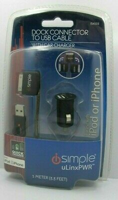 £14.18 • Buy ISimple Dock Connector To USB Cable W/ Car Charger For IPod & IPhone Quick Charg
