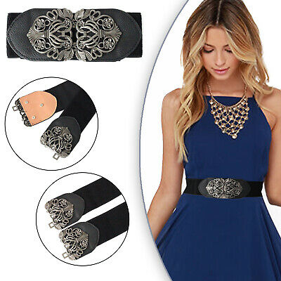 £6.39 • Buy Womens Waistband Thick Metal Buckle Wide Waist Stretchable Elastic Corset Belt
