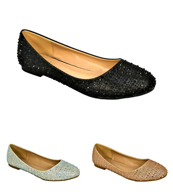 £12.99 • Buy Womens Ladies New Diamante Shoes Sparkly Slip On Pumps For Wedding Bridal 01-2