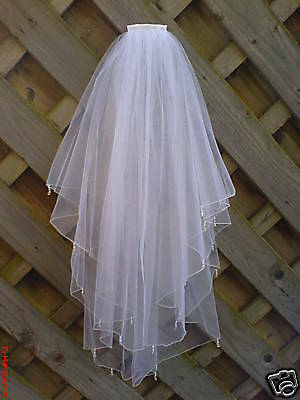 Wedding Veil White Made With Swarovski Crystal Drops & Pearls • 43.45£