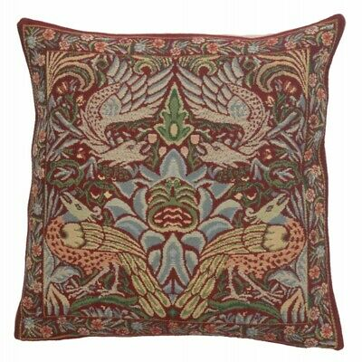 Set Of 2 Peacock And Dragon Red French Tapestry Cushion Covers 16 X 16 • 84.63£