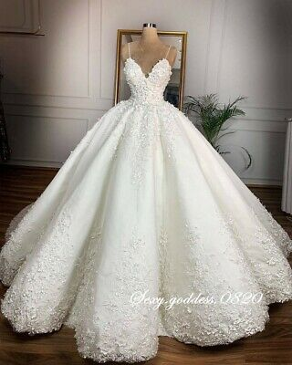$ CDN221.55 • Buy Spaghetti Straps Lace Appliques Wedding Dresses Princess Ball Gown Bridal Gowns