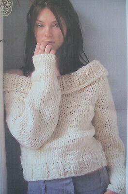 Ladies OFF SHOULDER CROP JUMPER KNITTING PATTERN Chunky 32 - 40 Inch Sweater Top • 1.99£