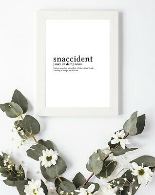 Typography Print A4 Hangry Hungry Snaccident Quote Gift Home Kitchen Wall Art  • 3.75£