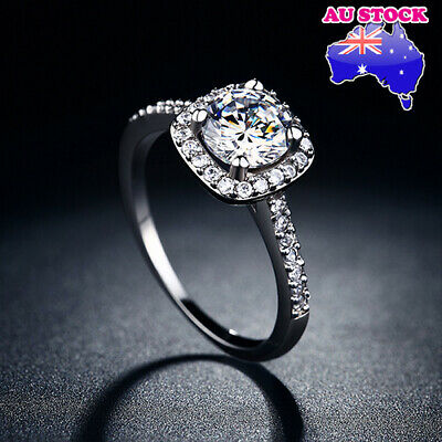 AU9.96 • Buy Wholesale 925 Sterling Silver Filled Paved Clear 2ct CZ Crystal Band Ring Gift