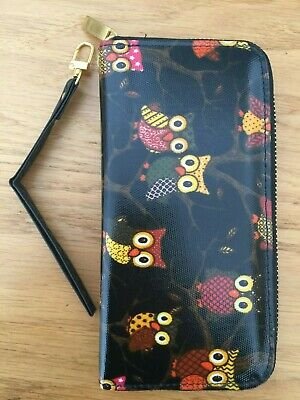 Women's Ladies Girls Large Zipped Black Owl Purse Wallet Oilcloth **NEW** • 4.99£