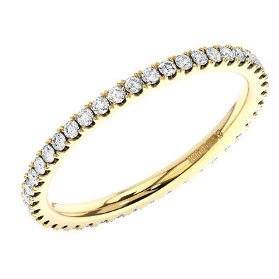 2mm, 0.40carat Round Brilliant Cut Diamonds Full Eternity Ring In 9K Yellow Gold • 188.10£