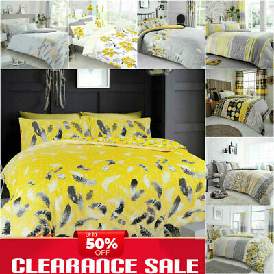 GREY DUVET COVER YELLOW BEDDING SETS Reversible Bed Set Pillow Case Easy Care  • 10.99£