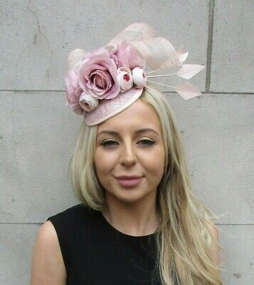 Light Blush Nude Pink Rose Flower Feather Hat Hair Fascinator Races Wedding 7207 • 32.95£