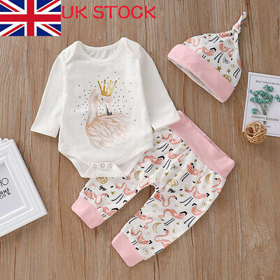 Newborn Baby Girl Animal Print Tops Romper+Pants+Hat Clothes  Trouser Outfits UK • 5.99£