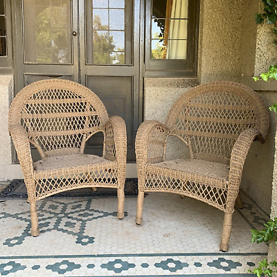 AU699 • Buy SET 2 Province Polyethylene Cane Wicker Natural Color Weatherproof Outdoor Chair
