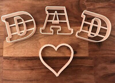 £9.99 • Buy DAD Heart Cookie Cutter Biscuit Dough Pastry Fondant Stencil Fathers Day Letter