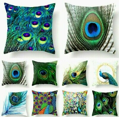 PEACOCK FEATHER CUSHION COVER 17  Purple Green Blue Orange Yellow Green Pink Red • 6.99£