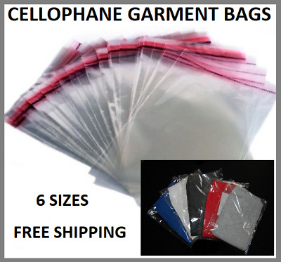 £7.99 • Buy Clear Garment POLY Bags Foil Clothing Card Cover T-SHIRT Packing Self Seal