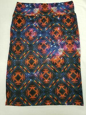 7bc8d691461a4 New Lularoe Cassie Skirt Large Black Orange Red Purple Aztec Galaxy Space  Stars • 8.97$