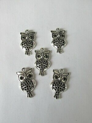 10 Antique Silver Owl Charms Pendants Jewellery Making Craft UK • 2.50£