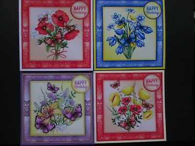 4 X  Happy Birthday FLORAL Card Toppers---SET 2 • 1.99£