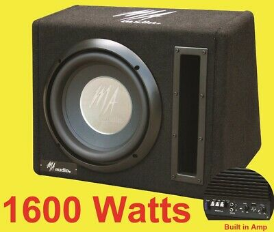 $138.05 • Buy 10  Inch Active Bass Subwoofer Box 1600 Watts Extreme Bass + Cables