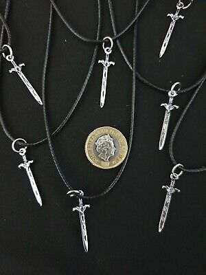 Silver Sword Dagger Cord Necklace Weapon Knife Combat Knight Combat Pendant  • 3.99£