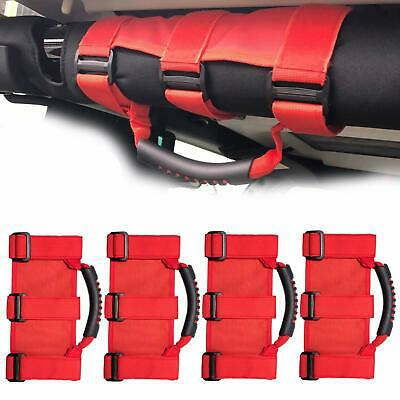 AU35.99 • Buy 4Pcs Red Grab Handles For Jeep Wrangler YJ TJ JK JKU JL Sports Sahara 1955-2020