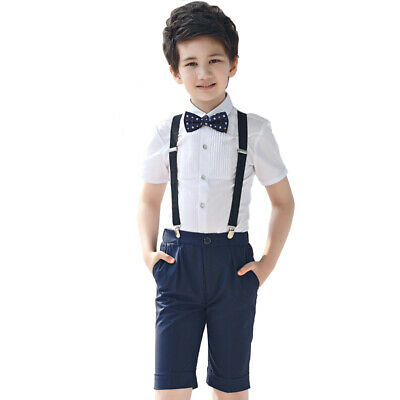 4 Piece Boys Short Set Suit Shirt Suit Wedding Page Boy Baby Costume Toddler • 12.99£