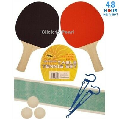 AU9.88 • Buy Table Tennis Ping Pong Set 2 Player Includes 3 Balls Two Paddle Bats & Net Set