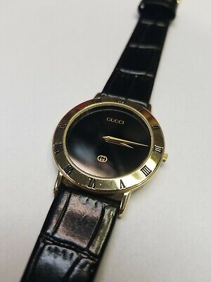 bccb3ab6499 GUCCI Mens Gold And Black Swiss 3000M Watch 33mm Vintage • 150.00