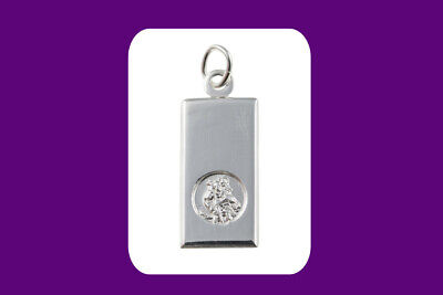 St Christopher Ingot Pendant Sterling Silver 925 Hallmark 14 - 30  Length Chain • 23.95£
