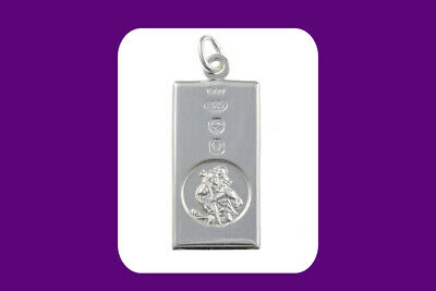 St. Christopher Hallmark Ingot Pendant Sterling Silver 14 - 30  Length Chain • 39.95£
