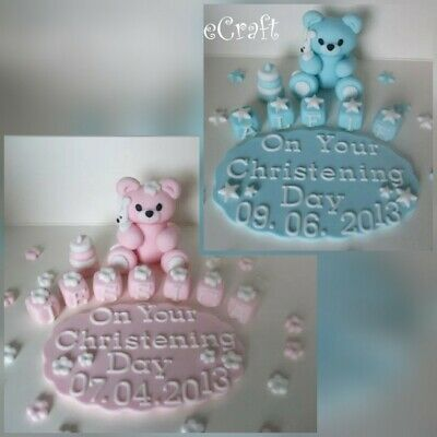 Christening Baptism Teddy Plaque Name Blocks  Handmade Cake Decorations Toppers • 15.89£
