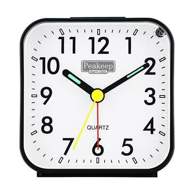 AU50.55 • Buy Peakeep Small Battery Operated Analog Travel Alarm Clock Silent No Ticking, Ligh