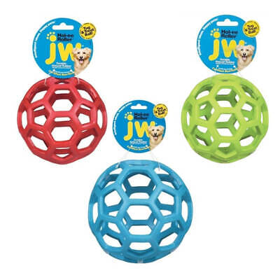 JW Pet Hol-ee Roller Dog Puppy Ball Durable Rubber Chew Toy Assorted Colour Toys • 6.99£