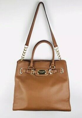 2825a0d3868d Michael Kors Hamilton Luggage Tote Brown Leather Gold Chain Large Purse Bag  • 134.90$