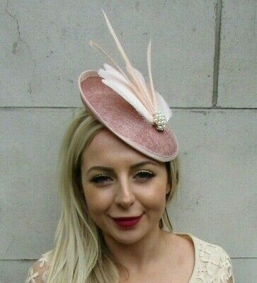 Dusky Nude Blush Pink Feather Disc Saucer Hat Fascinator Hair Races Wedding 7219 • 34.95£