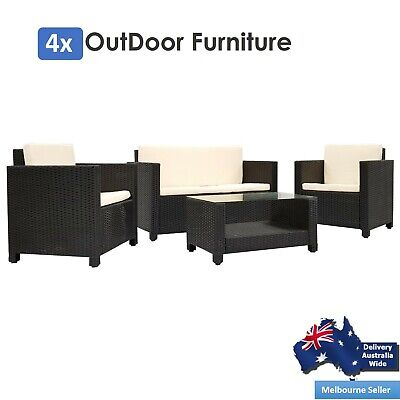 AU395.95 • Buy 4 Pcs Garden Outdoor Sofa Set Furniture Brown PE Wicker Rattan Lounge Setting AU