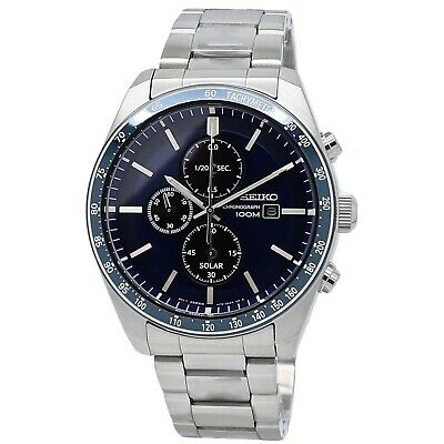 $ CDN273.35 • Buy Seiko Chronograph 100M Blue Dial Men's Watch SSC719