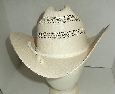 8e6be7feae901 Vintage Bailey U-Rollit Off-White Straw Western Cowboy Hat Men s Size 7 1