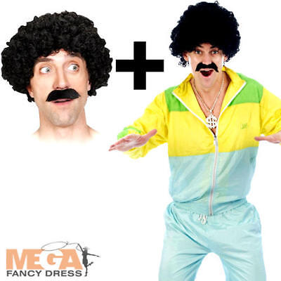 Scouser Shell Suit + Tash And Wig Mens Fancy Dress 1980s Tracksuit Adult Costume • 19.99£