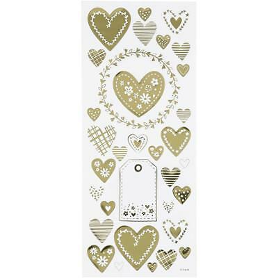 Self Adhesive Gold Hearts Stickers Plastic Sheet For Card Christmas Decorations • 1£