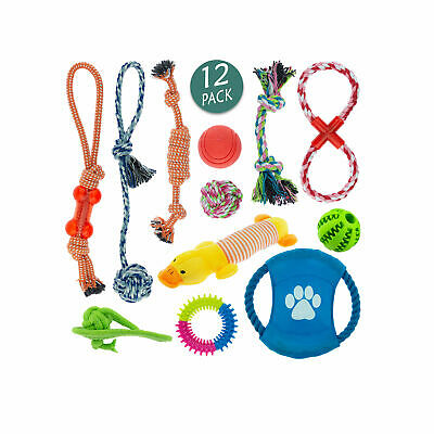 Dog Puppy Toys Rope Soft Plush Sound Play Squeaker Ball Christmas Bundle PK 12 • 11.99£