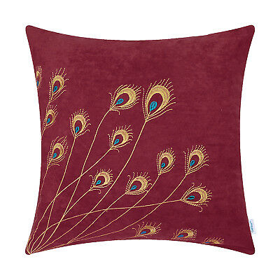 Cushion Covers Pillow Shells Bed Sofa Decor Peacock Feathers Embroidered 45x45cm • 7.51£