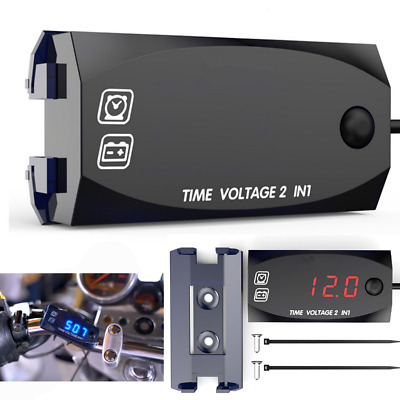 $10.48 • Buy Universal ATV Motorcycle LED Voltmeter Voltage Gauge Time Display Clock Watch 1x