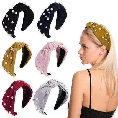 $2.99 • Buy Women's Tie Hairband Headband Twist Wide Pearl Knot Hair Hoop Bands Accessories