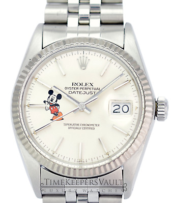 $ CDN7710.05 • Buy Rolex Datejust Mens SS Stainless Steel & 18K White Gold Jubilee Silver Mickey